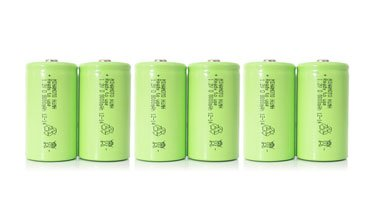 6 x 1.2V rechargeable batteries NiMH IEC LR20